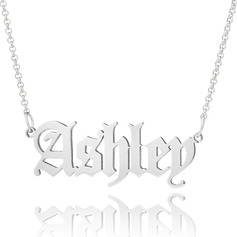 Christmas Gifts For Her - Custom Silver Old English Name Necklace (288217717)