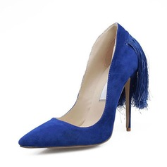 Women's Suede Stiletto Heel Pumps Closed Toe With Tassel shoes