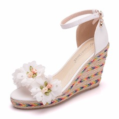 Women's Leatherette Wedge Heel Peep Toe Platform Wedges With Flower