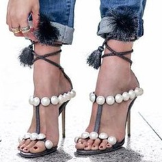 Women's Suede Stiletto Heel Sandals Pumps Peep Toe With Imitation Pearl Lace-up shoes
