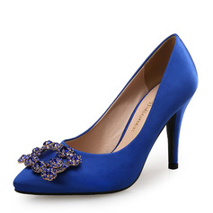 Women's Silk Like Satin Stiletto Heel Pumps With Crystal shoes (085105800)