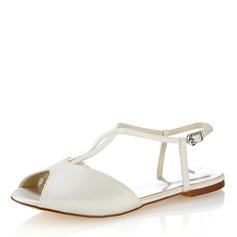 Women's Plastics Flat Heel Peep Toe Slingbacks
