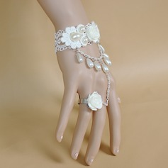 Unique Metal With Imitation Pearl Lace Women's Fashion Bracelets (Sold in a single piece)