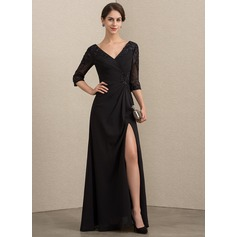 A-Line V-neck Floor-Length Chiffon Lace Evening Dress With Beading Sequins Split Front