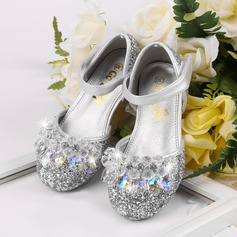 Girl's Round Toe Ballet Flat Leatherette Flat Heel Flats Flower Girl Shoes With Rhinestone Sparkling Glitter Velcro