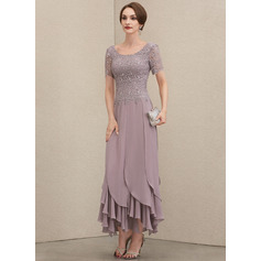 Scoop Neck Ankle-Length Chiffon Lace Mother of the Bride Dress With Cascading Ruffles (267235697)