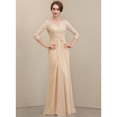 Sheath/Column V-neck Floor-Length Chiffon Lace Evening Dress With Ruffle (271236752)