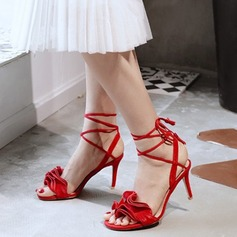 Women's Real Leather Stiletto Heel Sandals Peep Toe With Braided Strap shoes (087117893)
