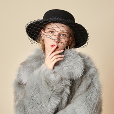 Ladies' Beautiful/Glamourous/Charming Wool With Tulle Bowler/Cloche Hats