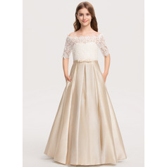 Ball-Gown/Princess Off-the-Shoulder Floor-Length Satin Lace Junior Bridesmaid Dress With Bow(s) Pockets