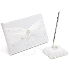 Beautiful Rhinestones/Bow/Double Hearts Guestbook & Pen Set