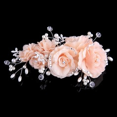 Elegant Crystal/Imitation Pearls Flowers & Feathers