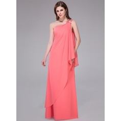Sheath/Column One-Shoulder Floor-Length Chiffon Holiday Dress With Beading Sequins Cascading Ruffles (020041070)