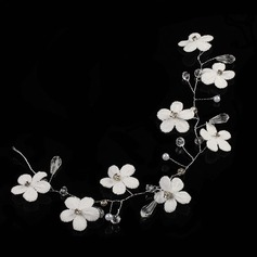 Rhinestone/Alloy/Silk Flower Headbands With Rhinestone (Sold in single piece)