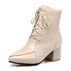 Women's PU Chunky Heel Pumps Closed Toe Boots Ankle Boots With Lace-up shoes