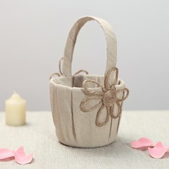 Lovely Flower Basket in Linen With Flower