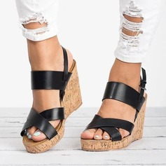 Women's Leatherette Wedge Heel Sandals Pumps Wedges With Buckle shoes (087166132)
