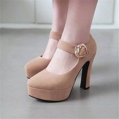 Women's Velvet Chunky Heel Pumps Platform With Button shoes