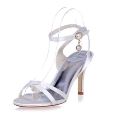 Women's Satin Stiletto Heel Peep Toe Sandals Slingbacks With Buckle Imitation Pearl