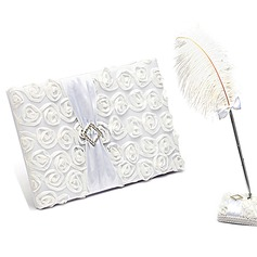 Lovely Rose Rhinestones/Bow/Flower Guestbook & Pen Set (101018139)