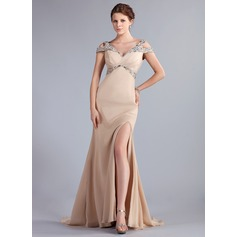 Trumpet/Mermaid Off-the-Shoulder Sweep Train Chiffon Evening Dress With Beading Split Front