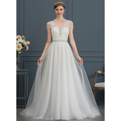 A-Line V-neck Court Train Tulle Wedding Dress With Beading Sequins