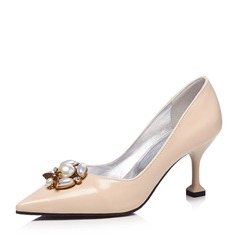 Women's Patent Leather Stiletto Heel Pumps Closed Toe With Imitation Pearl shoes