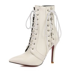 Women's Leatherette Stiletto Heel Pumps Boots Martin Boots With Lace-up shoes (088182638)