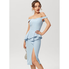 Sheath/Column Off-the-Shoulder Knee-Length Stretch Crepe Cocktail Dress With Lace Split Front Cascading Ruffles