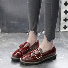 Women's Patent Leather Wedge Heel Flats Pumps With Buckle shoes (086116264)