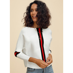 Striped Cable-knit Chunky knit Polyester Round Neck Pullovers Sweaters (1002222932)
