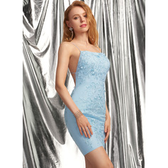 Sheath/Column Square Neckline Short/Mini Tulle Homecoming Dress With Lace