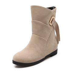 Kvinnor Mocka Flat Heel Stängt Toe Stövlar Boots Halva Vaden Stövlar med Tofs skor