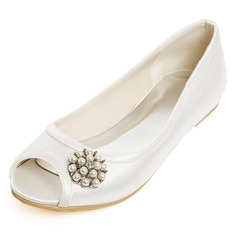 Women's Satin Flat Heel Flats With Imitation Pearl Rhinestone