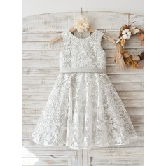 Lace Deep V Back Wedding Flower Girl Knee-length Dress with Silver lining / bow
