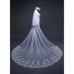 Two-tier Lace Applique Edge Cathedral Bridal Veils With Applique (006125301)