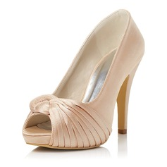 Women's Satin Stiletto Heel Peep Toe Pumps With Ruffles