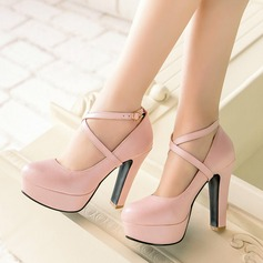 Women's Leatherette Chunky Heel Pumps Platform Closed Toe With Lace-up shoes (085117338)
