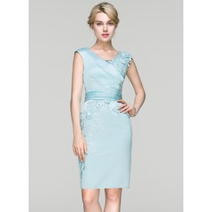 Sheath/Column V-neck Knee-Length Satin Cocktail Dress With Ruffle