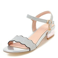Women's Chunky Heel Sandals With Sequin Buckle shoes