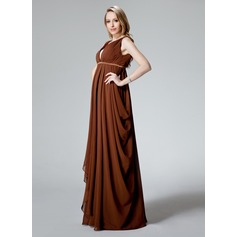 Empire V-neck Floor-Length Chiffon Chiffon Maternity Bridesmaid Dress With Ruffle (045022467)