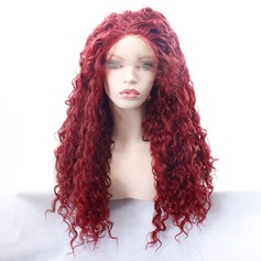 Curly Syntetisk Lace Front Parykker 350g