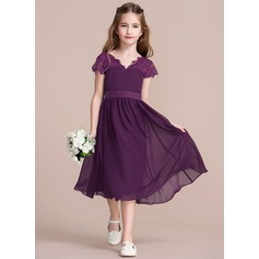 A-Line/Princess V-neck Tea-Length Chiffon Junior Bridesmaid Dress With Bow(s)