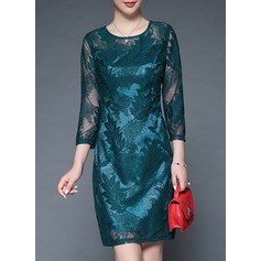 Polyester/Lace With Lace Above Knee Dress (199137189)