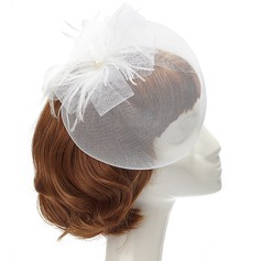 Glamourous Feather Fascinators With Venetian Pearl