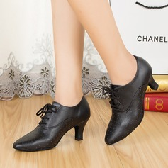 Women's Real Leather Pumps Swing With Hollow-out Dance Shoes