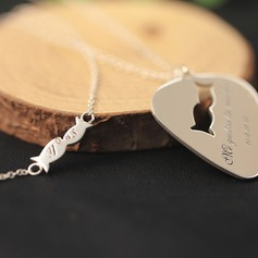 Personalized Couples' Eternal Love 925 Sterling Silver With Heart Engraved Necklaces For Friends/For Couple