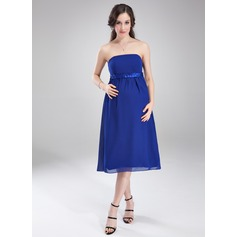 Empire Strapless Knee-Length Chiffon Maternity Bridesmaid Dress With Ruffle Sash