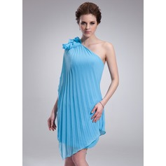 Sheath/Column One-Shoulder Asymmetrical Chiffon Homecoming Dress With Cascading Ruffles Pleated