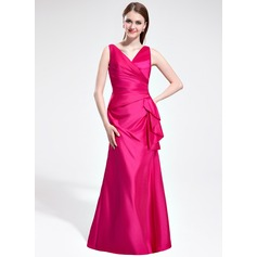 Trumpet/Mermaid V-neck Floor-Length Taffeta Bridesmaid Dress With Cascading Ruffles